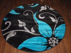 MODERN 140X140CM CIRCLE RUG WOVEN BACK HAND CARVED LILY DESIGN BLACK/TEAL/SILVER